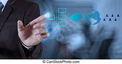 El empresario muestra tecnología moderna