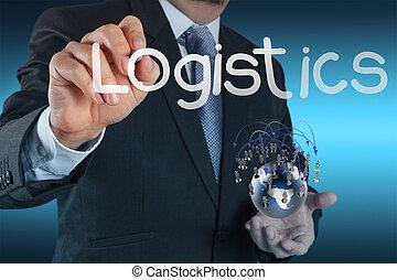 El empresario muestra un diagrama de logística como concepto