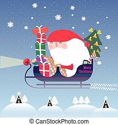El encantador Santa Claus montando en trineo