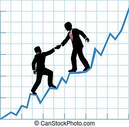 El equipo de negocios ayuda al crecimiento de la empresa