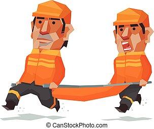 El equipo de rescate corre, ilustración del vector Cartoon.