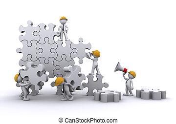 El equipo de trabajo arma un rompecabezas. Construyendo el concepto de negocios.