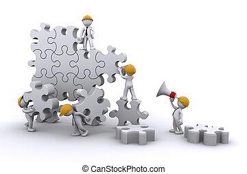 El equipo de trabajo arma un rompecabezas. El concepto de desarrollo de negocios.