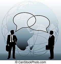 El equipo mundial de negocios conecta burbujas
