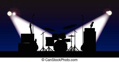 El escenario de la banda de rock