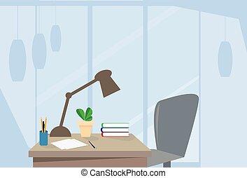 El escritorio de la silla vacía de la oficina