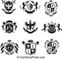 El escudo heráldico de armas, emblemas decorativos negros