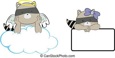 El espacio de dibujos animados de Raccoon Angel