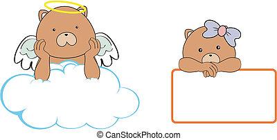 El espacio de dibujos animados del ángel de peluche