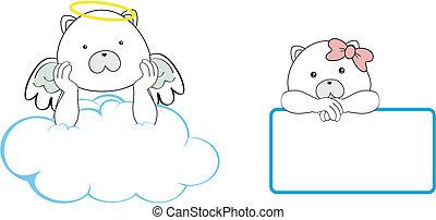 El espacio de dibujos animados del ángel del oso polar