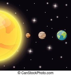 El espacio de las estrellas de tierra del Mercurio Sol
