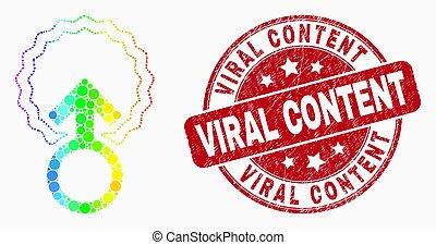 El espectro de vectores señala icono de inseminación y sello de contenido viral
