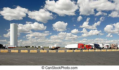 El estacionamiento de camiones