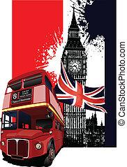 El estandarte con Londres y el autobús