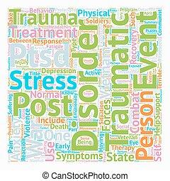 El estrés post traumático entre los soldados escribe el concepto de palabra de fondo