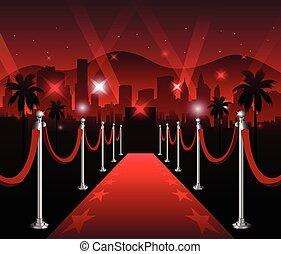 El estreno de una película de alfombra roja, elegante evento de Hollywood