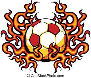 El fútbol se templa con vector de llamas