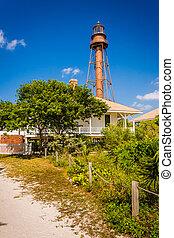 El faro de la isla Sanibel, en Sanibel, Florida.