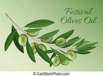 El festival verde de aceitunas, el fondo del petróleo, estilo realista