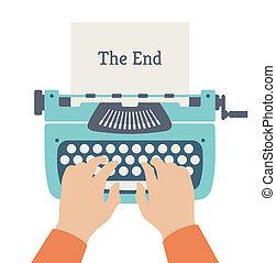 El fin de la historia ilustración plana