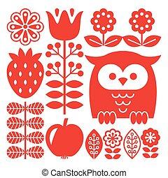 El finlandés inspiró el diseño rojo del arte folclórico, escandinavo, al estilo nórdico