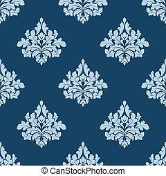 El follaje sin costura con elementos de damasco azul