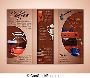 El folleto del café triple