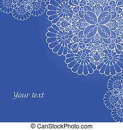 El fondo con adornos de encaje y espacio para tu texto