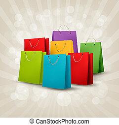 El fondo con bolsas de compras coloridas. Concepto de descuento. Ilustración del vector.