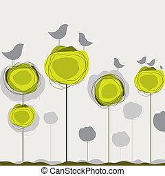 El fondo con las aves, el árbol. Ilustración del vector