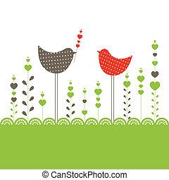 El fondo con las aves. Ilustración del vector