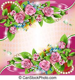 El fondo con rosas rosas