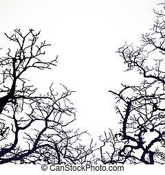 El fondo con siluetas de ramas desnudas
