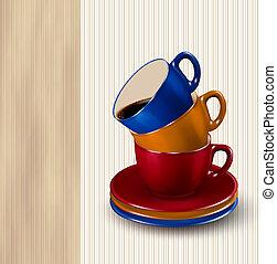 El fondo con tazas coloridas de café. Temperatura de diseño de café. Vector
