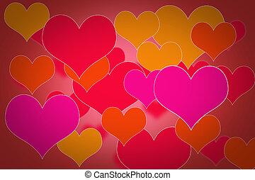 El fondo del día de San Valentín con corazones