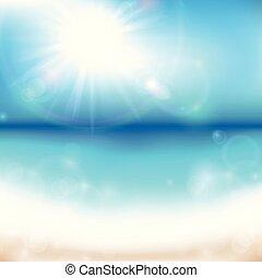 El fondo del mar de verano con el amanecer