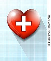El fondo del símbolo médico del corazón