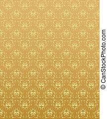 El fondo dorado con elementos florales abstractos