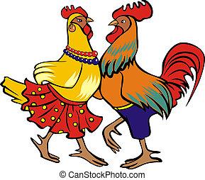El gallo bailarín y la gallina