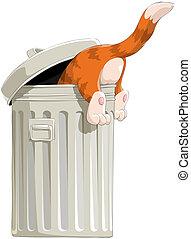 El gato en la basura