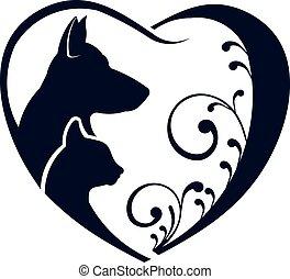 El gato perro ama el logo del corazón