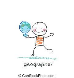 El geógrafo está en las manos del globo
