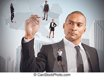 El gerente coloca empleados