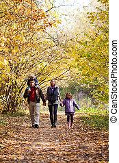 el gozar, parque, familia , caminata