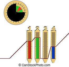 El gráfico de la línea de gráficos infográficos