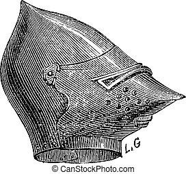 El grabado clásico del casco enmascarado