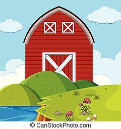 El granero rojo al aire libre
