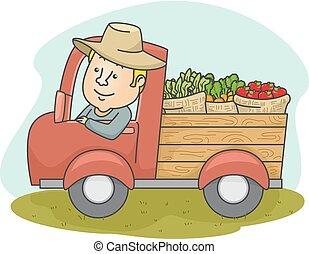 El granjero produce camiones