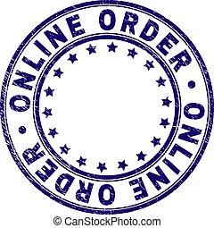 El grunge texturó ONLINE ordenando sello redondo