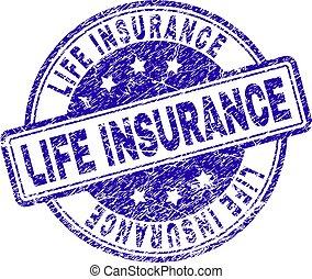 El grunge texturó sello de seguro de vida